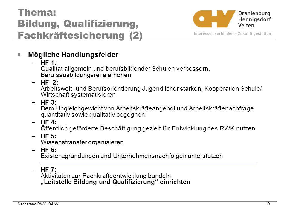 Thema: Bildung, Qualifizierung, Fachkräftesicherung (2)