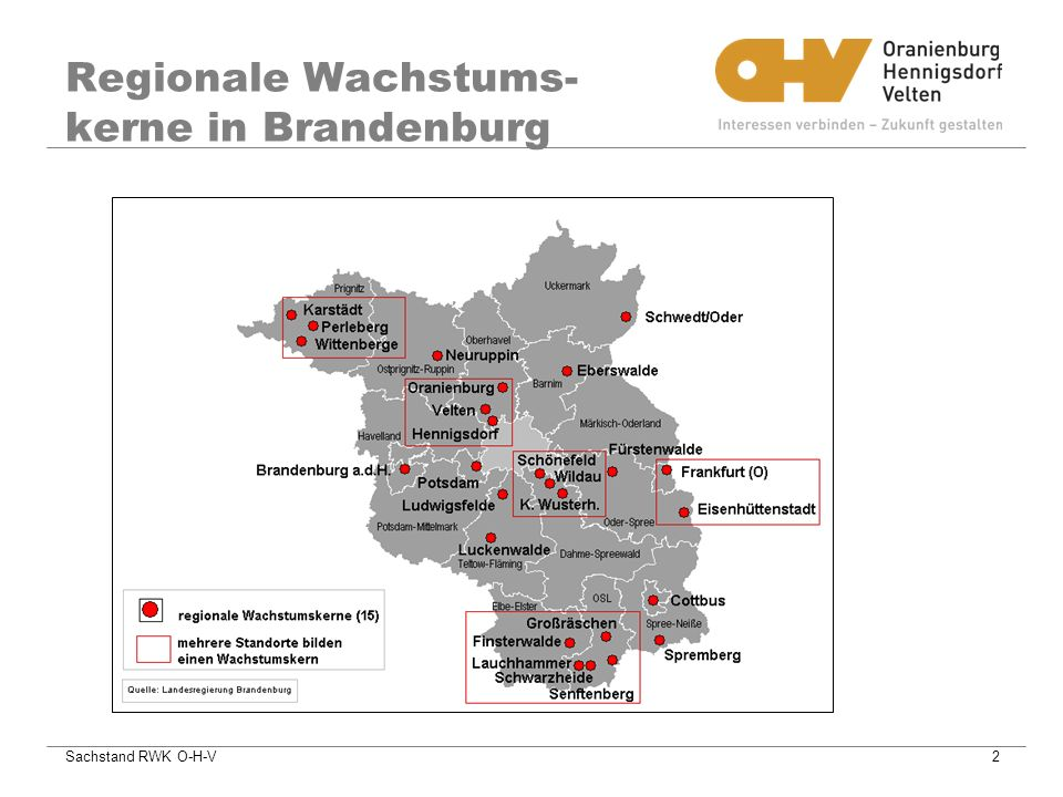 Regionale Wachstums-kerne in Brandenburg