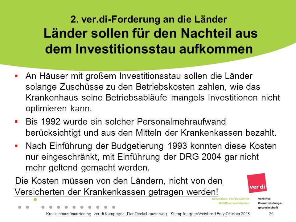 2. ver.di-Forderung an die Länder Länder sollen für den Nachteil aus dem Investitionsstau aufkommen