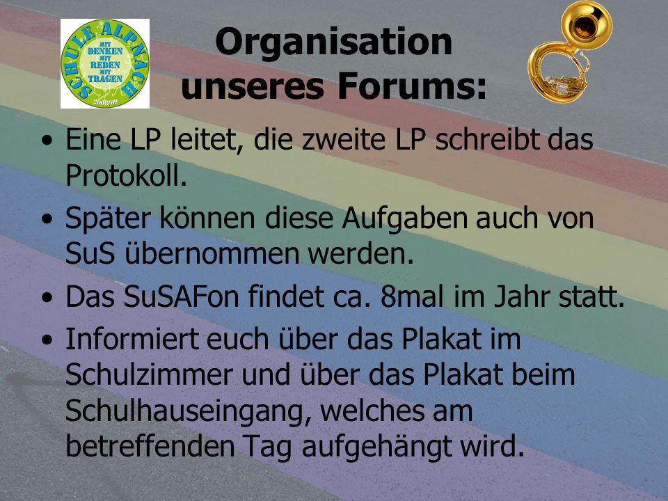 Organisation unseres Forums: