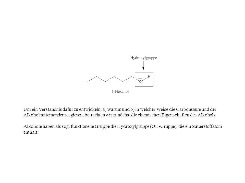 Um ein Verständnis dafür zu entwickeln, a) warum und b) in welcher Weise die Carbonsäure und der Alkohol miteinander reagieren, betrachten wir zunächst die chemischen Eigenschaften des Alkohols.