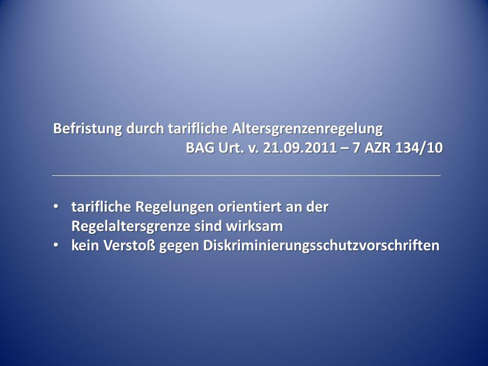 Befristung durch tarifliche Altersgrenzenregelung