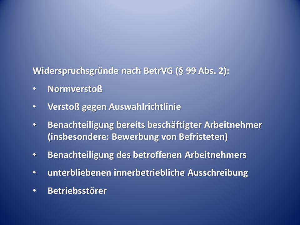 Widerspruchsgründe nach BetrVG (§ 99 Abs. 2):
