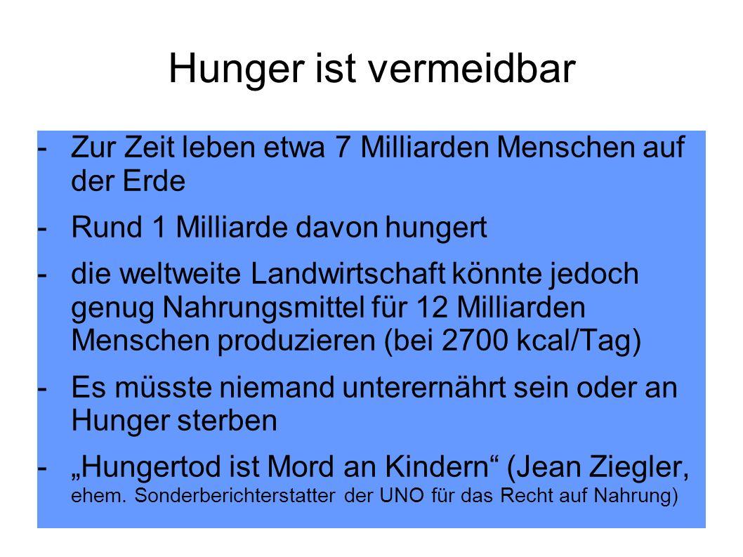 Hunger ist vermeidbar Zur Zeit leben etwa 7 Milliarden Menschen auf der Erde. Rund 1 Milliarde davon hungert.