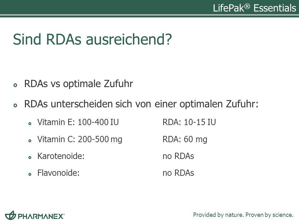 Sind RDAs ausreichend RDAs vs optimale Zufuhr