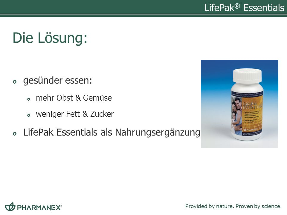 Die Lösung: gesünder essen: LifePak Essentials als Nahrungsergänzung