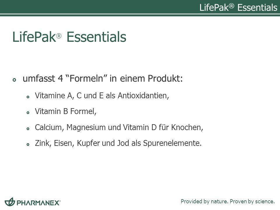 LifePak® Essentials umfasst 4 Formeln in einem Produkt: