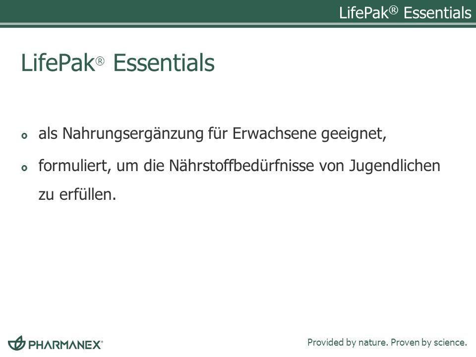 LifePak® Essentials als Nahrungsergänzung für Erwachsene geeignet,
