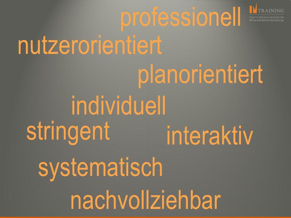 professionell nutzerorientiert. planorientiert. individuell. stringent. interaktiv. systematisch.