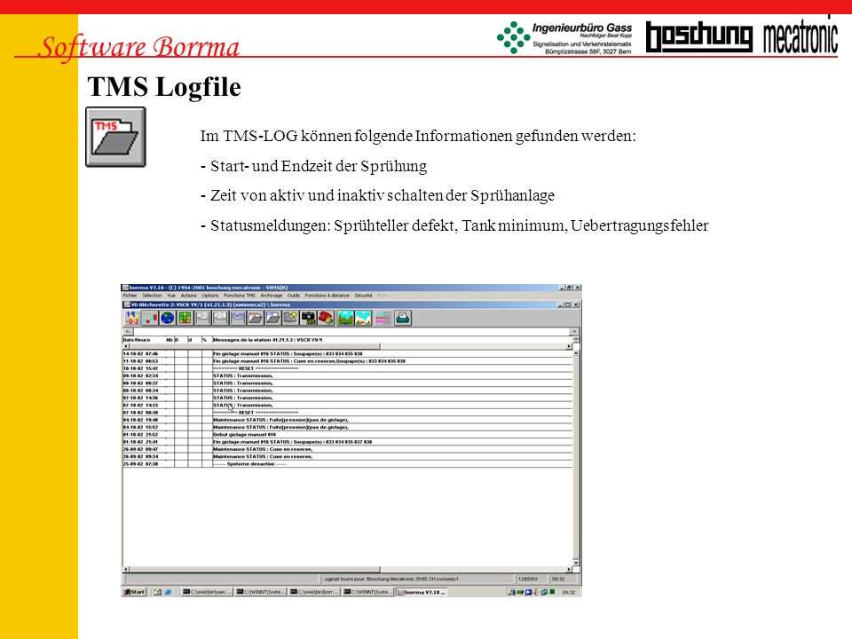 Software Borrma TMS Logfile