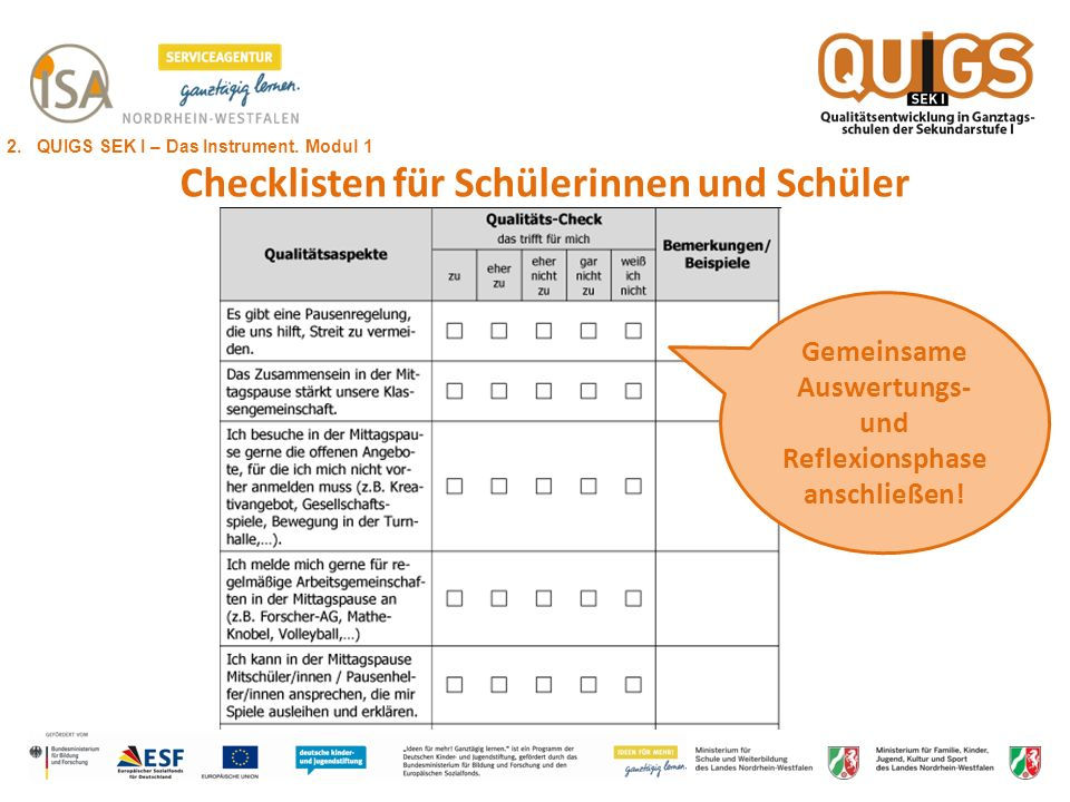 Checklisten für Schülerinnen und Schüler