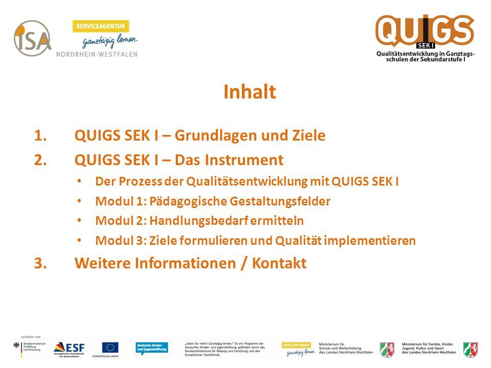 Inhalt 1. QUIGS SEK I – Grundlagen und Ziele