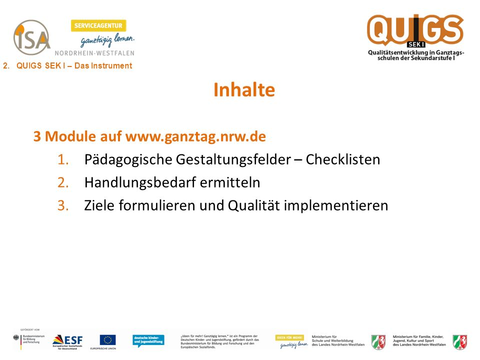 Inhalte 3 Module auf www.ganztag.nrw.de