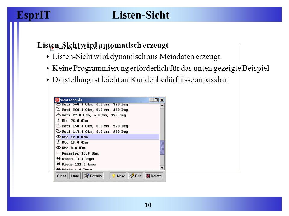 Listen-Sicht Listen-Sicht wird automatisch erzeugt