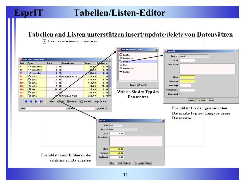 Tabellen/Listen-Editor
