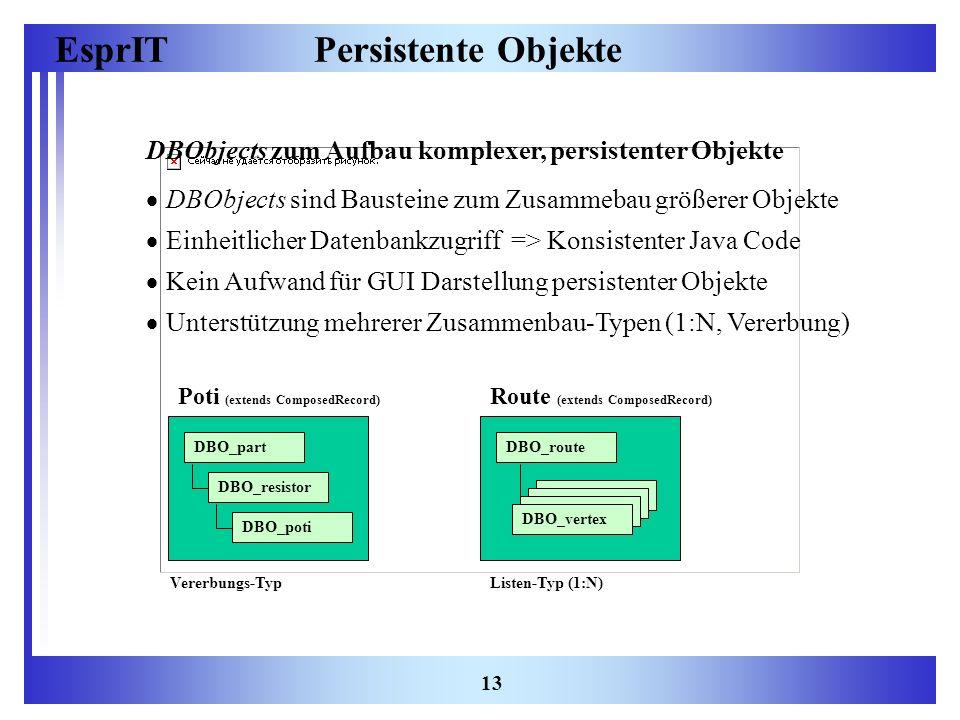 Persistente Objekte DBObjects zum Aufbau komplexer, persistenter Objekte. DBObjects sind Bausteine zum Zusammebau größerer Objekte.