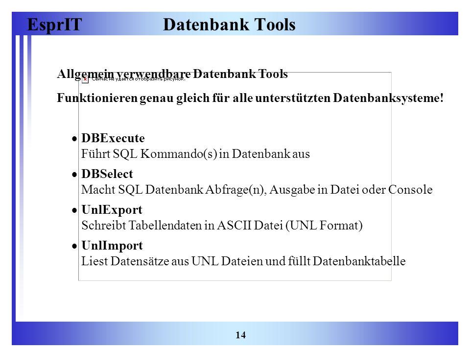Datenbank Tools Allgemein verwendbare Datenbank Tools
