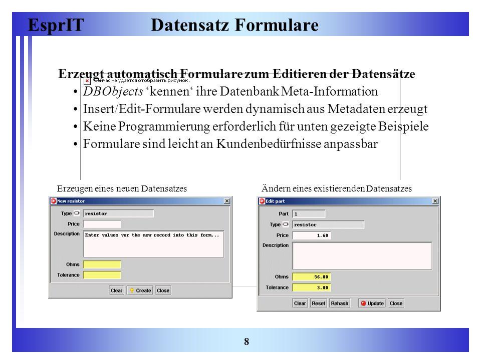 Datensatz Formulare Erzeugt automatisch Formulare zum Editieren der Datensätze. DBObjects 'kennen' ihre Datenbank Meta-Information.
