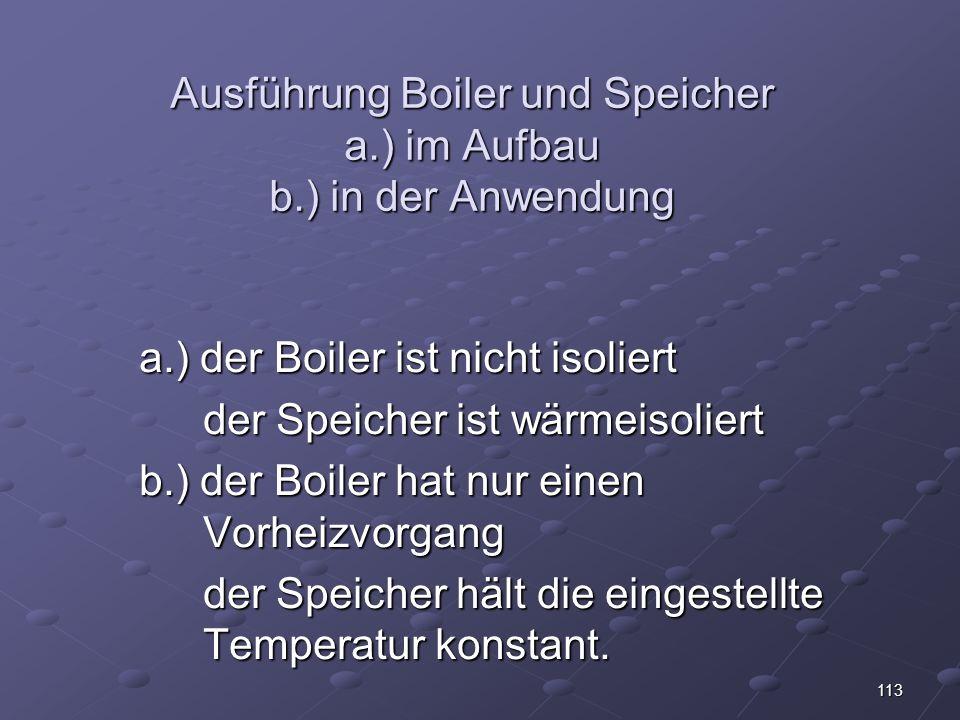 Ausführung Boiler und Speicher a.) im Aufbau b.) in der Anwendung