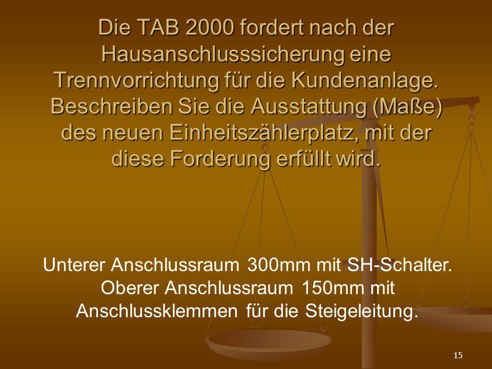 Die TAB 2000 fordert nach der Hausanschlusssicherung eine Trennvorrichtung für die Kundenanlage. Beschreiben Sie die Ausstattung (Maße) des neuen Einheitszählerplatz, mit der diese Forderung erfüllt wird.