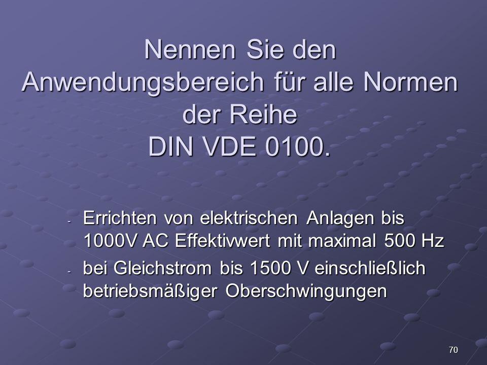 Nennen Sie den Anwendungsbereich für alle Normen der Reihe DIN VDE 0100.