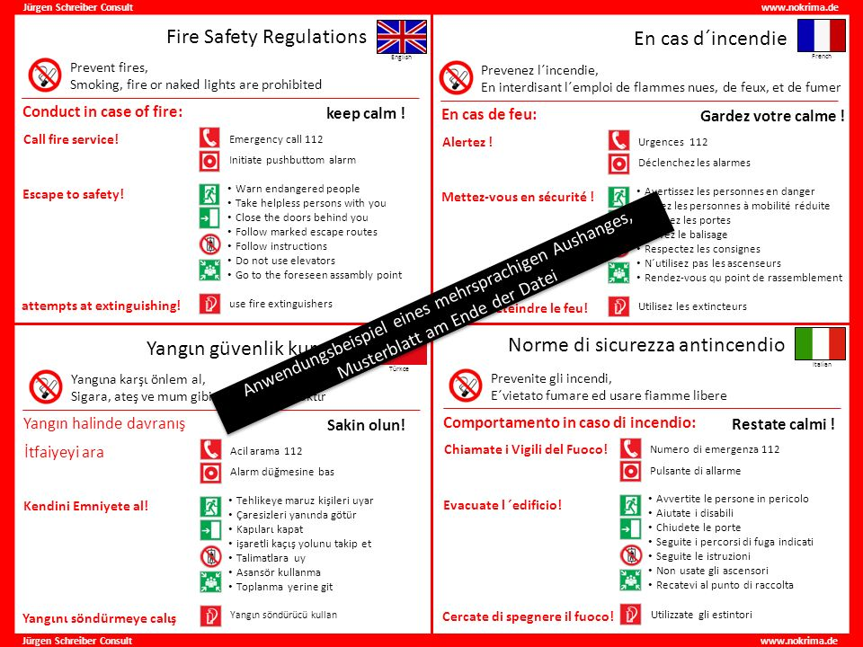 Fire Safety Regulations En cas d´incendie