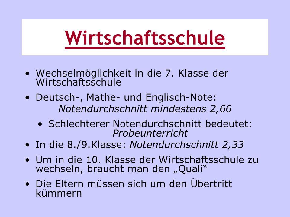Wirtschaftsschule Wechselmöglichkeit in die 7. Klasse der Wirtschaftsschule. Deutsch-, Mathe- und Englisch-Note:
