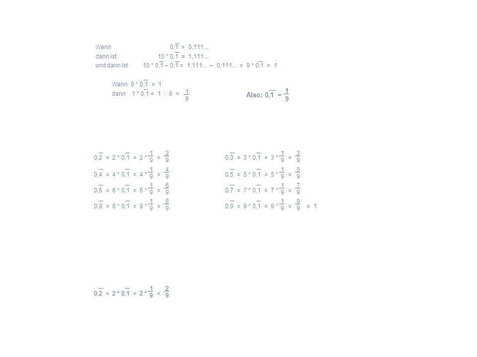 1 9 Also: 0,1 = Wenn 0,1 = 0,111... dann ist 10 * 0,1 = 1,111...