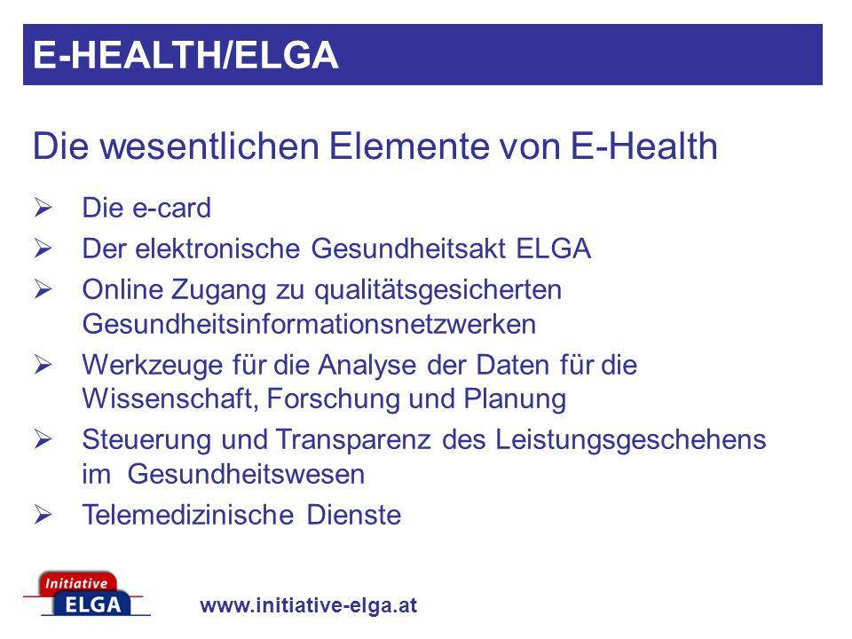 Die wesentlichen Elemente von E-Health