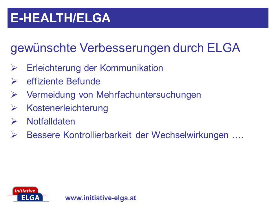 gewünschte Verbesserungen durch ELGA