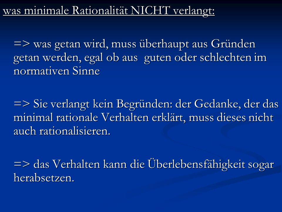 was minimale Rationalität NICHT verlangt: