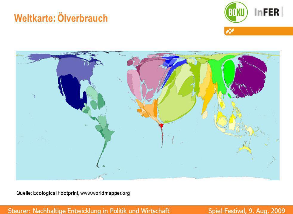 Weltkarte: Ölverbrauch