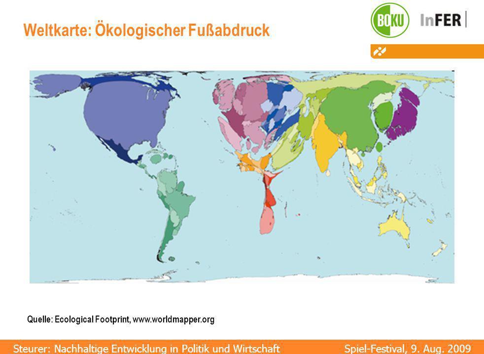 Weltkarte: Ökologischer Fußabdruck