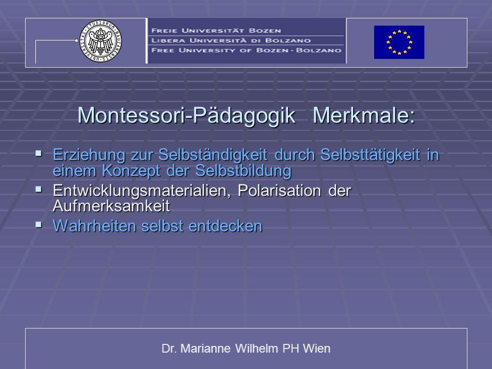 Montessori-Pädagogik Merkmale: