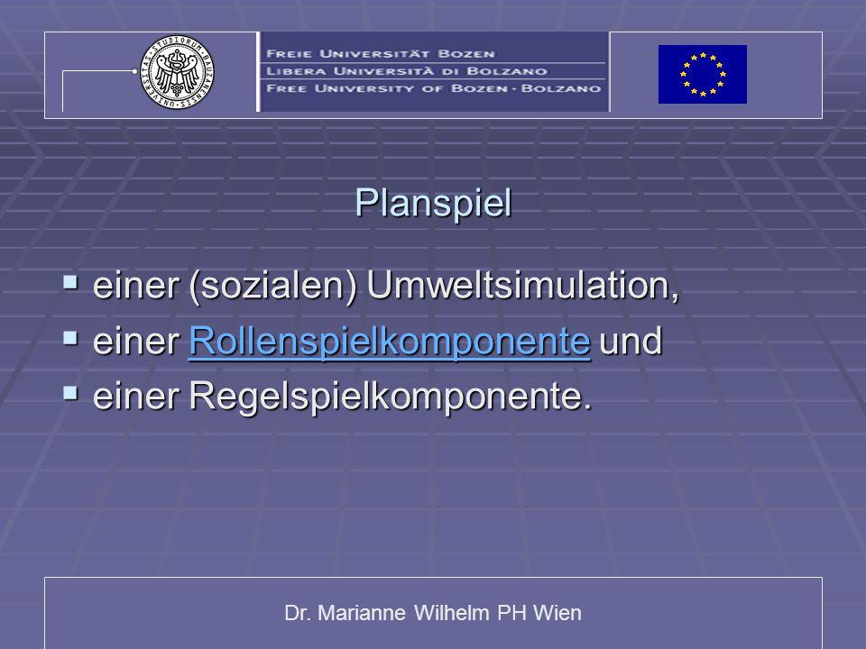 Planspiel einer (sozialen) Umweltsimulation, einer Rollenspielkomponente und.