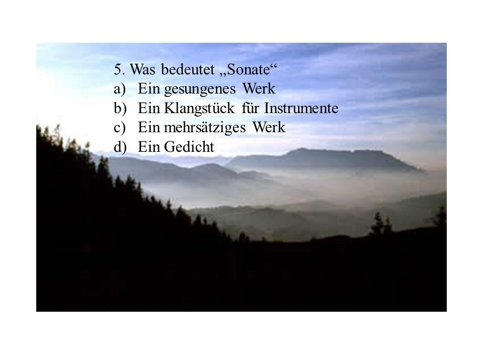 """5. Was bedeutet """"Sonate Ein gesungenes Werk. Ein Klangstück für Instrumente. Ein mehrsätziges Werk."""