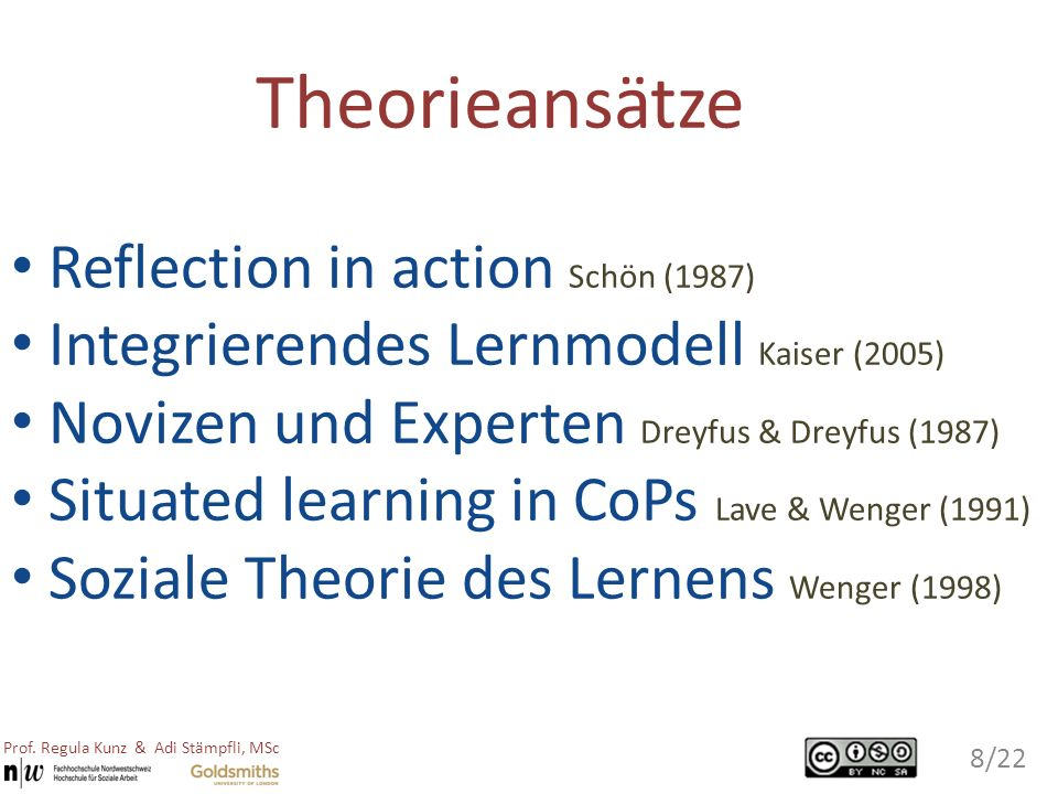 Theorieansätze Reflection in action Schön (1987)