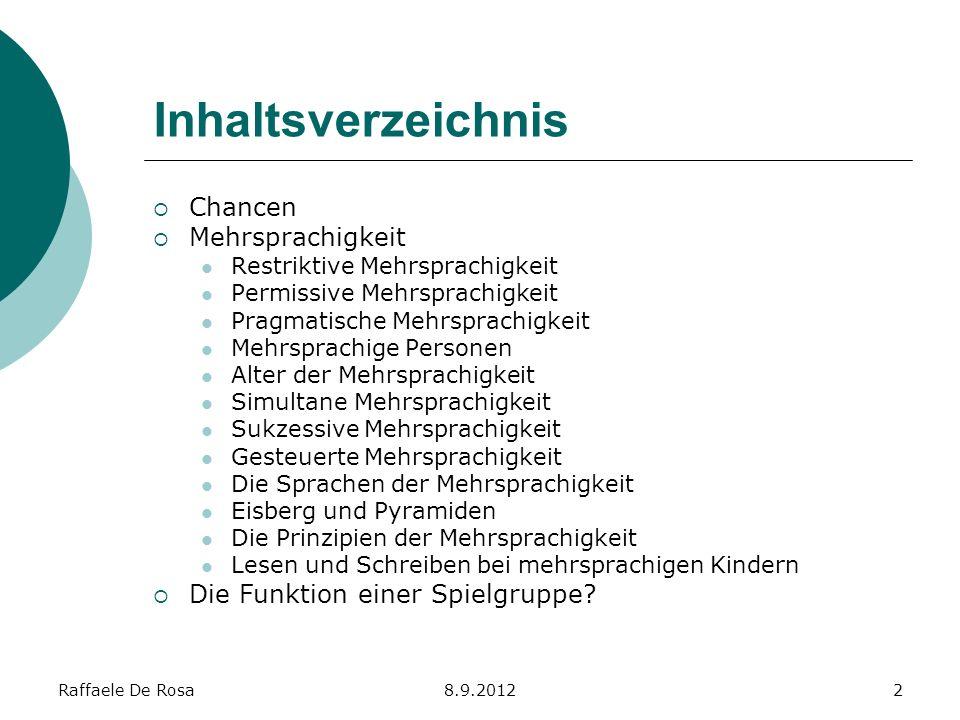 Inhaltsverzeichnis Chancen Mehrsprachigkeit