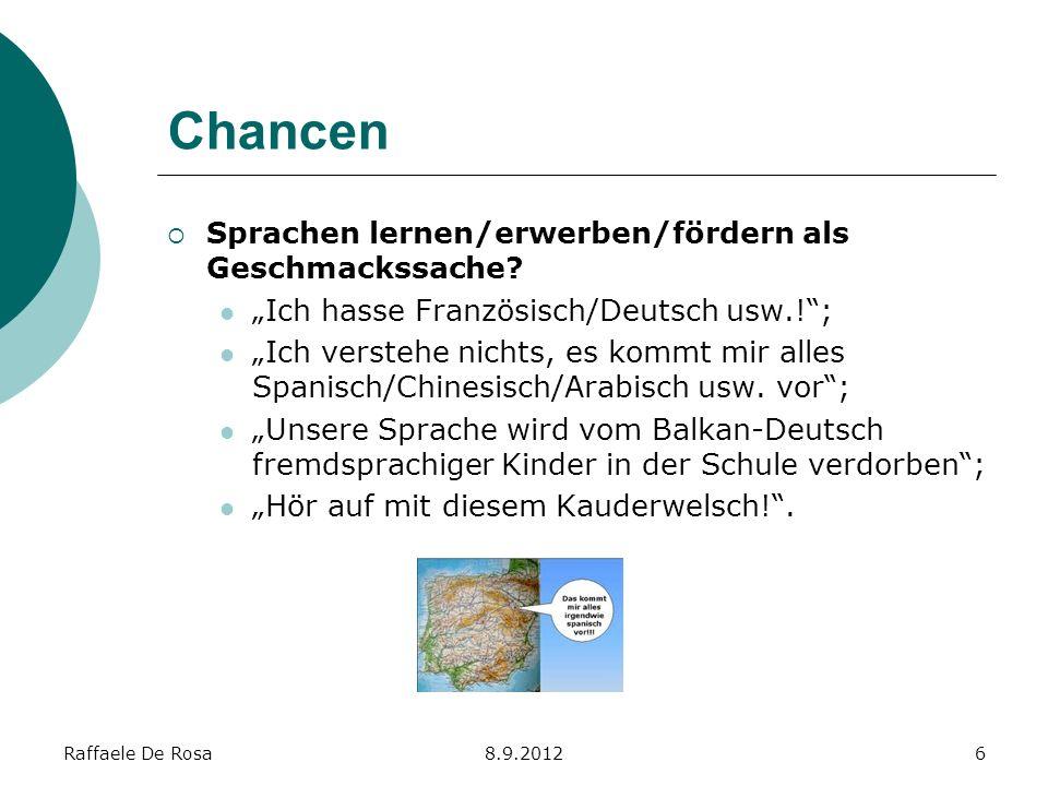 Chancen Sprachen lernen/erwerben/fördern als Geschmackssache