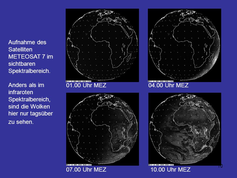 Aufnahme des Satelliten METEOSAT 7 im sichtbaren Spektralbereich.