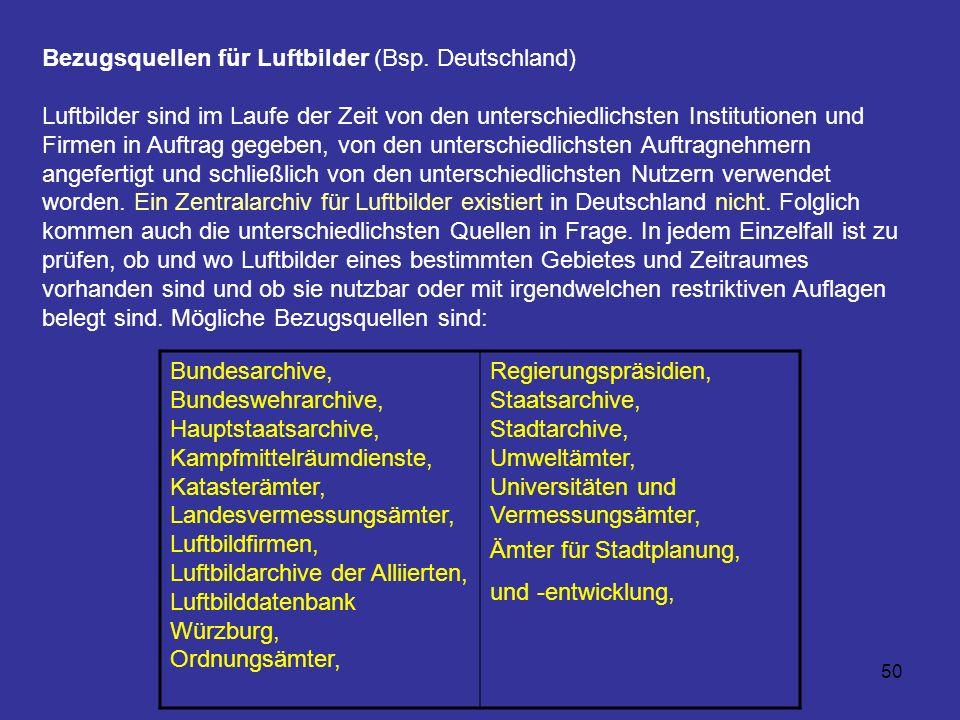 Bezugsquellen für Luftbilder (Bsp. Deutschland)