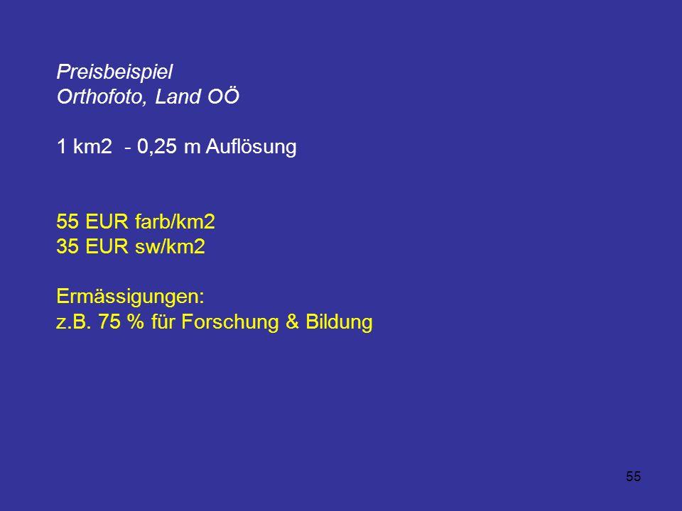 Preisbeispiel Orthofoto, Land OÖ. 1 km2 - 0,25 m Auflösung. 55 EUR farb/km2. 35 EUR sw/km2. Ermässigungen: