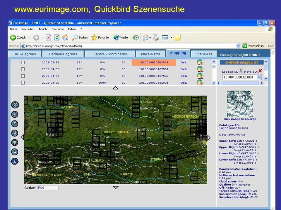 www.eurimage.com, Quickbird-Szenensuche