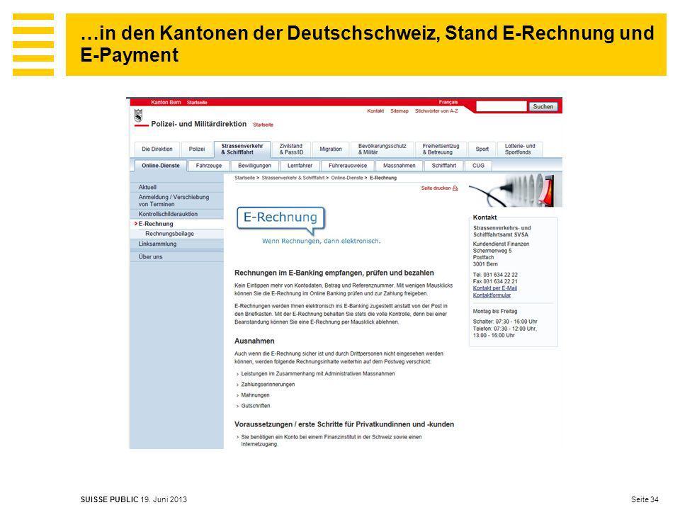 …in den Kantonen der Deutschschweiz, Stand E-Rechnung und E-Payment
