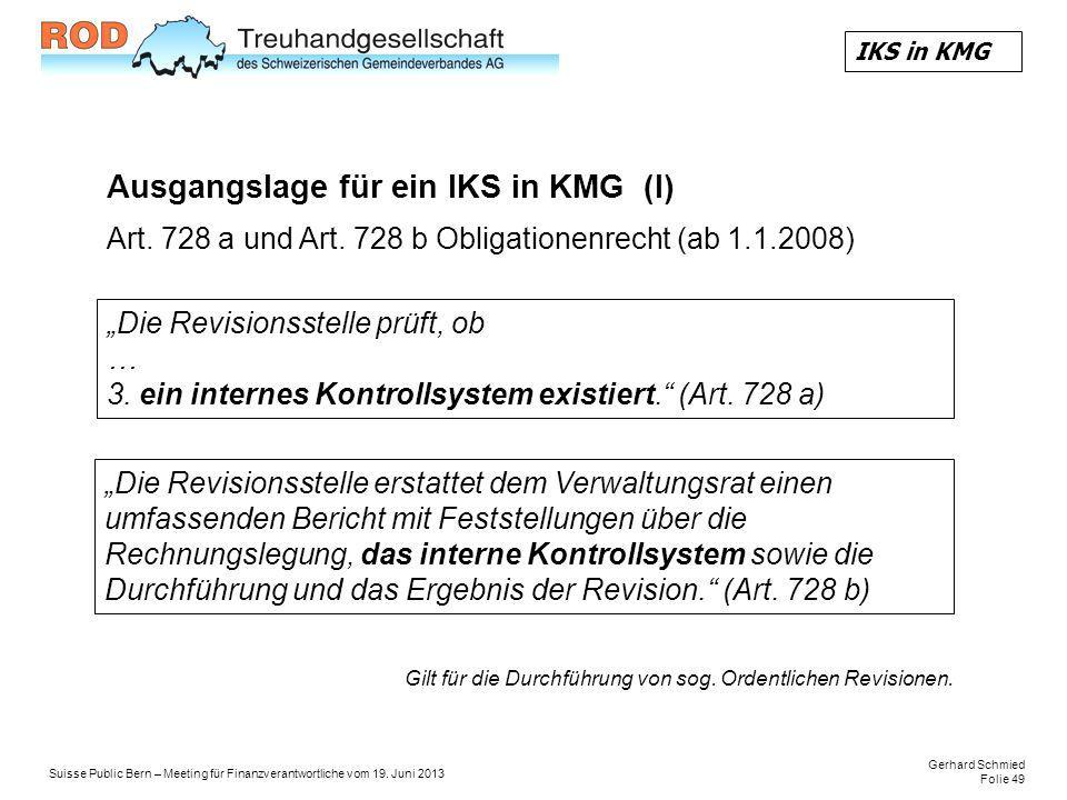Ausgangslage für ein IKS in KMG (I)