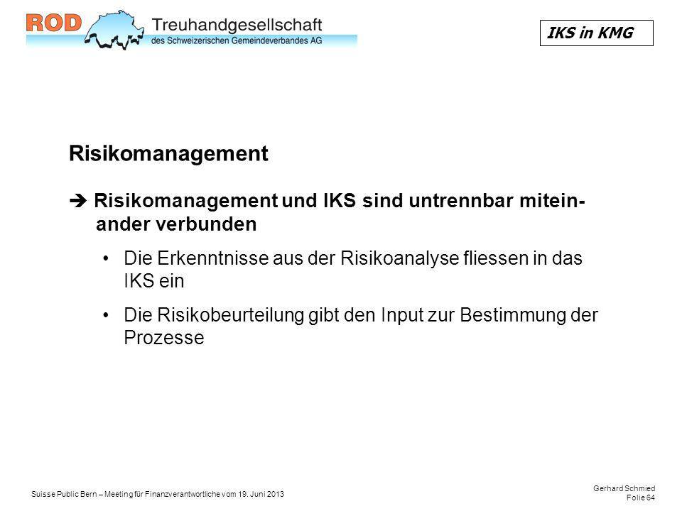 IKS in KMG Risikomanagement.  Risikomanagement und IKS sind untrennbar mitein- ander verbunden.