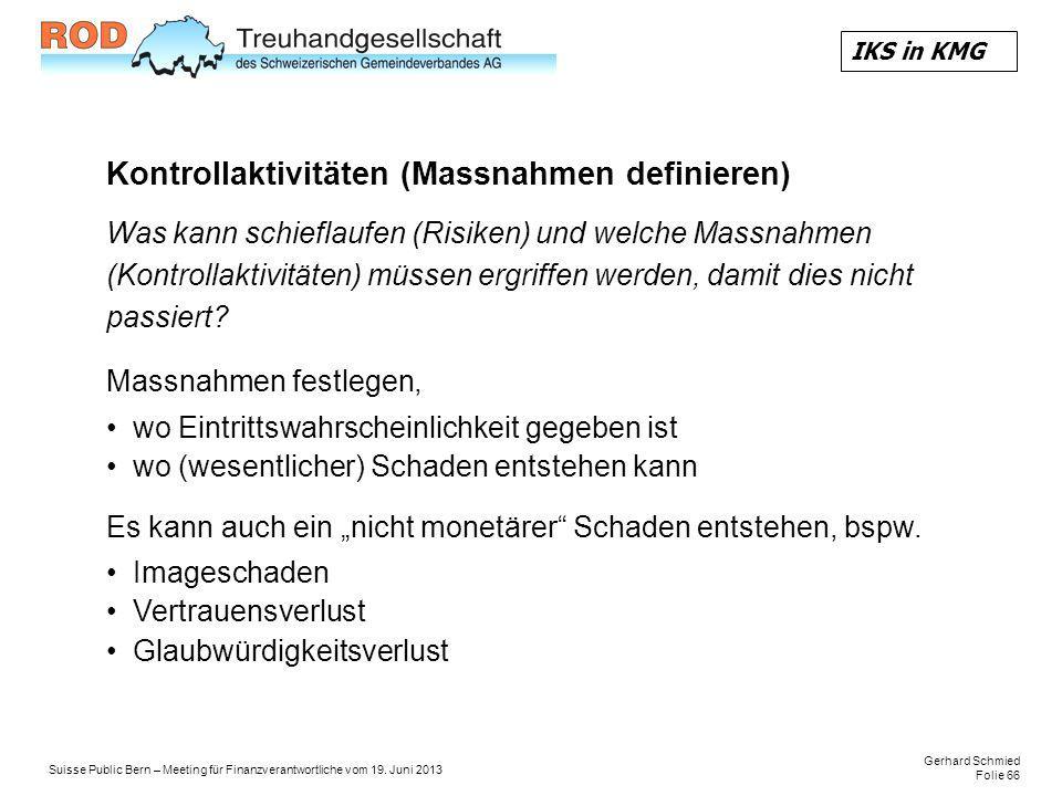 Kontrollaktivitäten (Massnahmen definieren)
