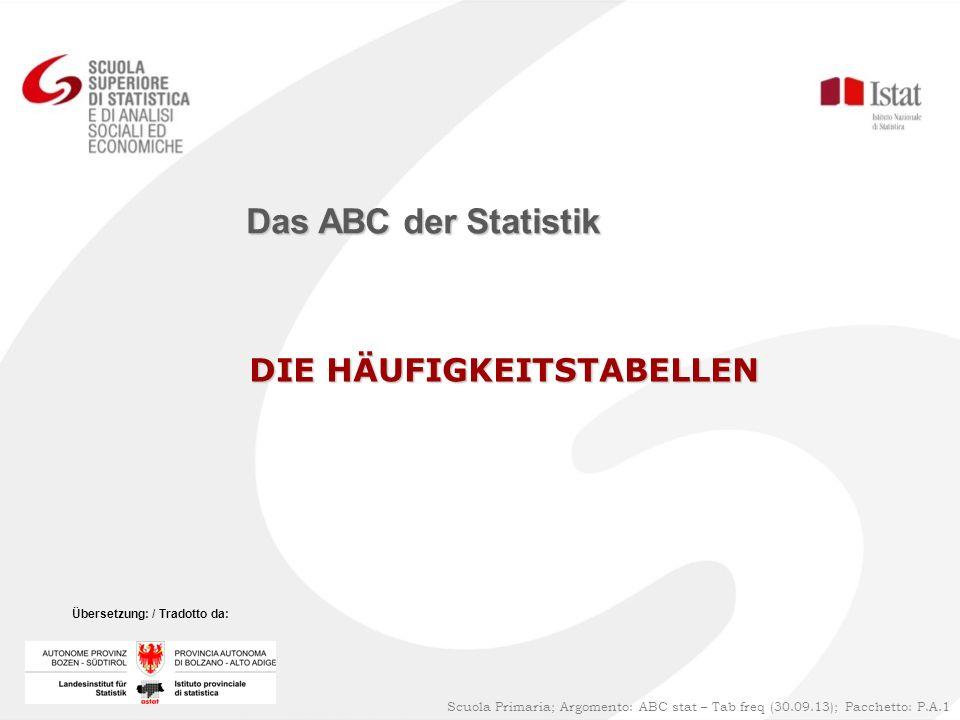 Das ABC der Statistik DIE HÄUFIGKEITSTABELLEN 1