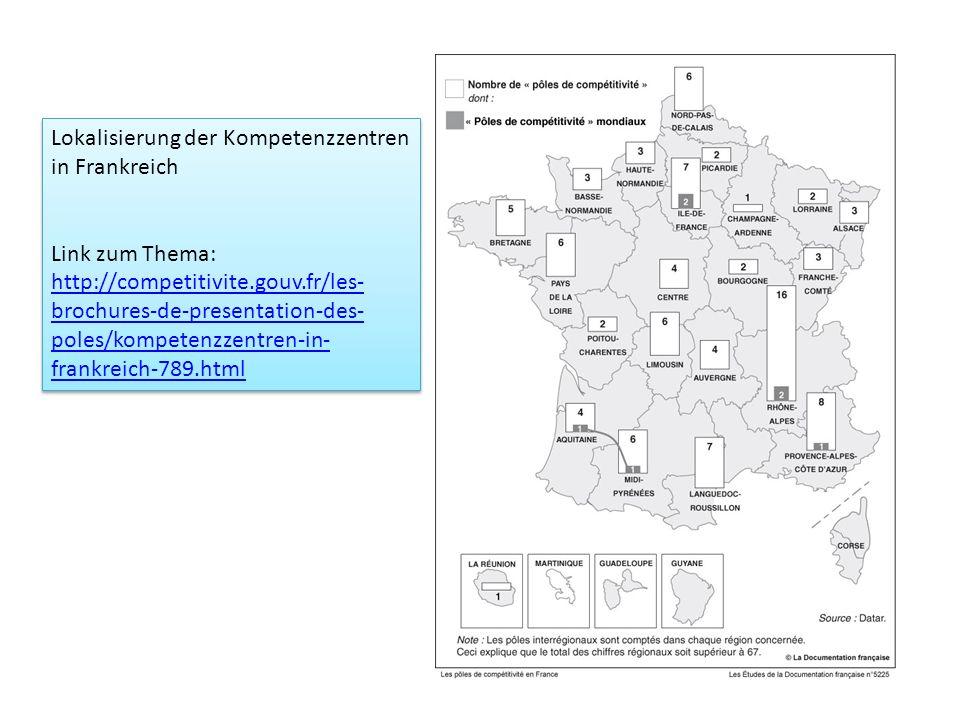 Lokalisierung der Kompetenzzentren in Frankreich