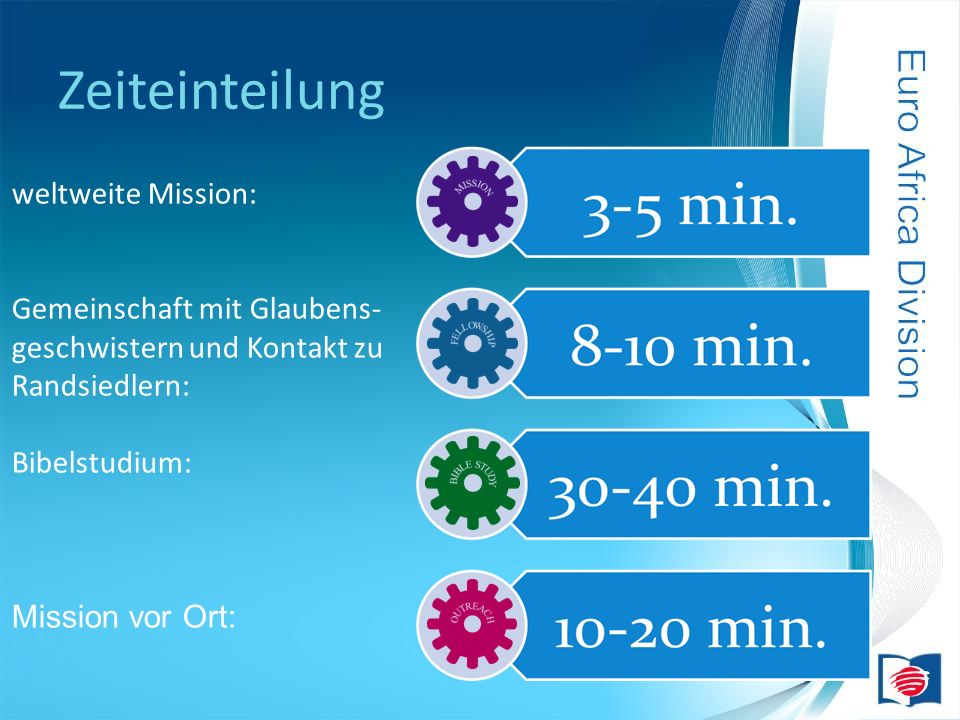 Zeiteinteilung weltweite Mission: Gemeinschaft mit Glaubens-